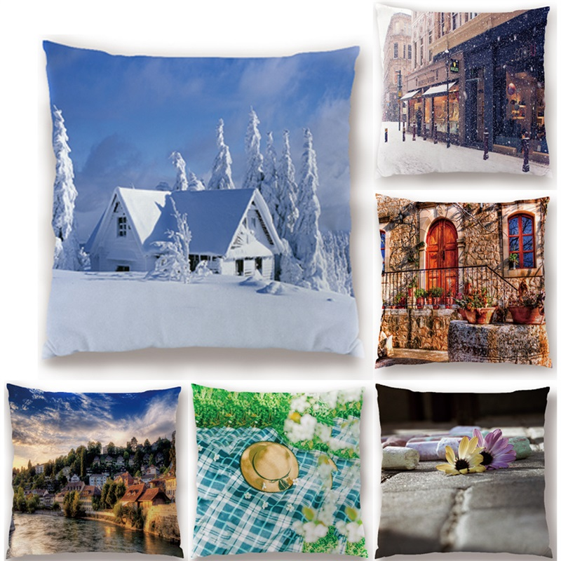 Let It Snow Xmas Style Cushion Cover Merry Christmas Santa Claus Socks Balloon Home Decorative Printed Pillow Cover Nordicstyle
