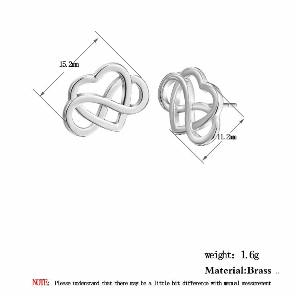 Kinitial Fashion Heart Infinity Stud Earrings Eight Eternal Love