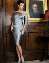 Bride appliques mother sheath evening gray sleeves dresses of wedding the