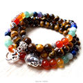 SN1129 Tiger Eye Jaspe Mala 108 Mala Beads Chakra Necklace Buddhist Beads Necklace Meditation Buddha and Ohm Bracelet