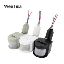 LED Hareket Sensörü 220 V 110 V 12 V Otomatik Kızılötesi PIR Hareket Dedektörü Duvar Montaj Zamanlayıcı Açık 12 Volt sensörlü ışık Anahtarı