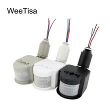 Sensor de movimento automático infravermelho, sensor de movimento led 220v 110v 12 v com temporizador de parede para uso externo interruptor de luz com sensor