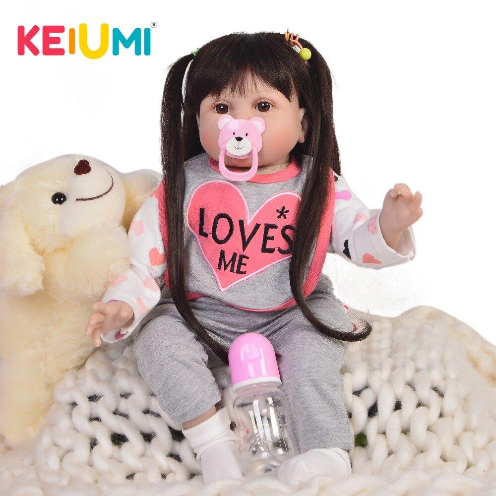 Moda 22 ''55 cm noworodka dziewczyna Reborn Baby Doll realistyczne długie włosy śliczna lalka bobas zabawka dla dziecka prezent urodzinowy wczesna edukacja w Lalki od Zabawki i hobby na  Grupa 1