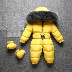 2019 Jumpsuit Children Winter Fox Fur Hood Warm Overalls for Baby Boys Windproof Girls Onesie Windproof Duck Down Kids Clothes