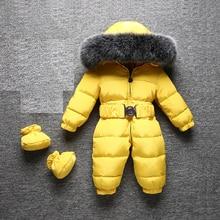 2020  Jumpsuit Children Winter Fox Fur Hood Warm Overalls for Baby Boys Windproof Girls Onesie Windproof Duck Down Kids Clothes