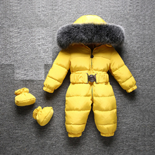 2020 macacão crianças inverno capa de pele raposa quente macacão para o bebê meninos meninas à prova de vento onesie pato para baixo roupas dos miúdos
