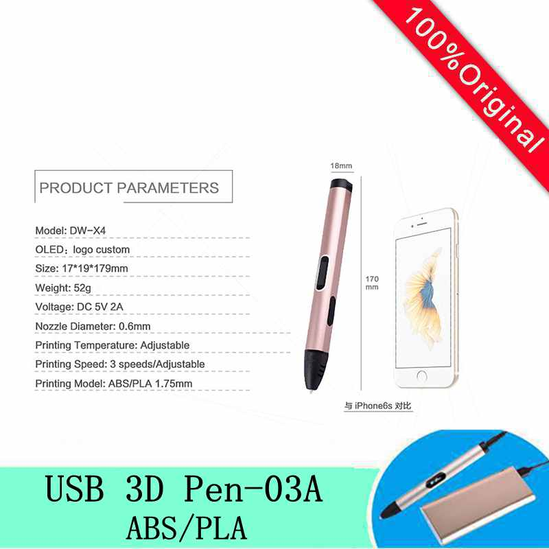 New 3D Pen  With Free 1.75MM ABS/PLA Filaments OLED Temperature/function Show Screen 5V 2A USB 3D Pens For Kids Creative Drawing  christmas gifts fast epacket dewang newest 3d pen wiht usb cable low temperature free 9m abs pla child gift for imagination