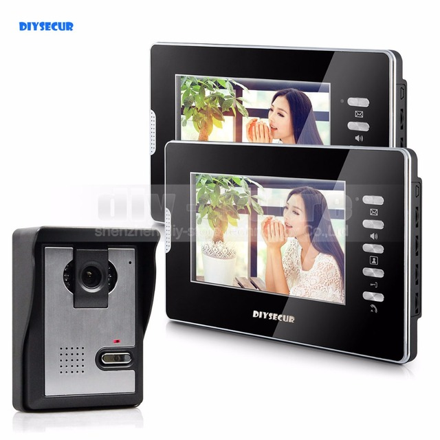 "DIYSECUR 7"" Wired Video Door Intercom Vandalproof Camera 600TVL Night View Unlocking 1V2"
