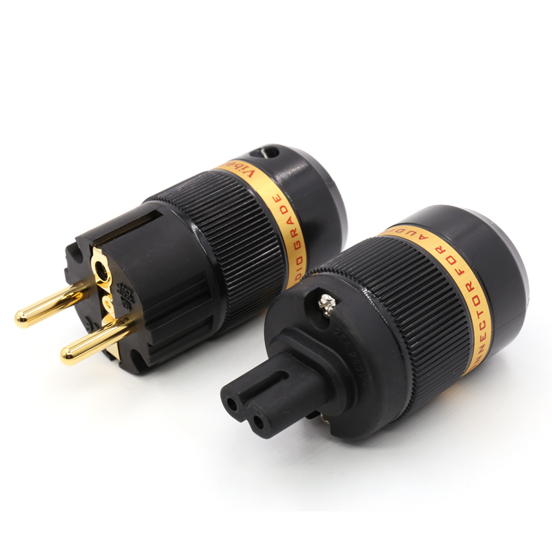 Viborg Pure Copper EU Schuko Power Connector 24K Gold Plated Figure 8 IEC Female Connector plug hifi in Plug Connectors from Consumer Electronics