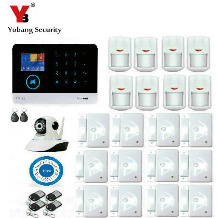 YobangSecurity Touch Screen Keypad Wifi GSM IOS Android APP Wired Home Burglar Security Alarm System Kit Wireless IP Camera yobangsecurity touch keypad wifi gsm gprs rfid alarm home burglar security alarm system android ios app control wireless siren
