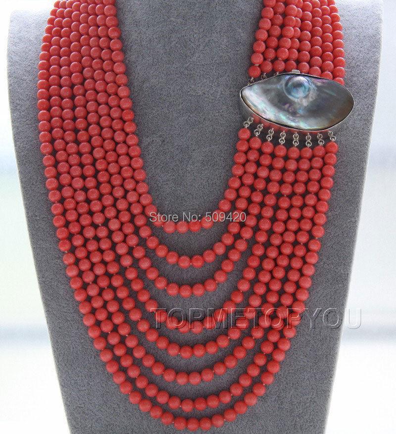 W и O655 >> потрясающие! 8 рядов 5 мм розовый круглый коралловое ожерелье Mabe 925ss застежка