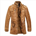 Fashion Motorcycle Leather Jacket Men Winter Thick Warm Vintage PU Leather Military Mens Trench Jaquetas De Couro