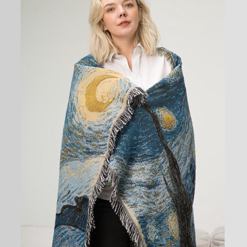 Cotton Van Gogh Star Blanket Starry Night Thick Blanket Bedroom Carpet Bedspread Tablecloth Tapestry Home Decor Hanging Blanket