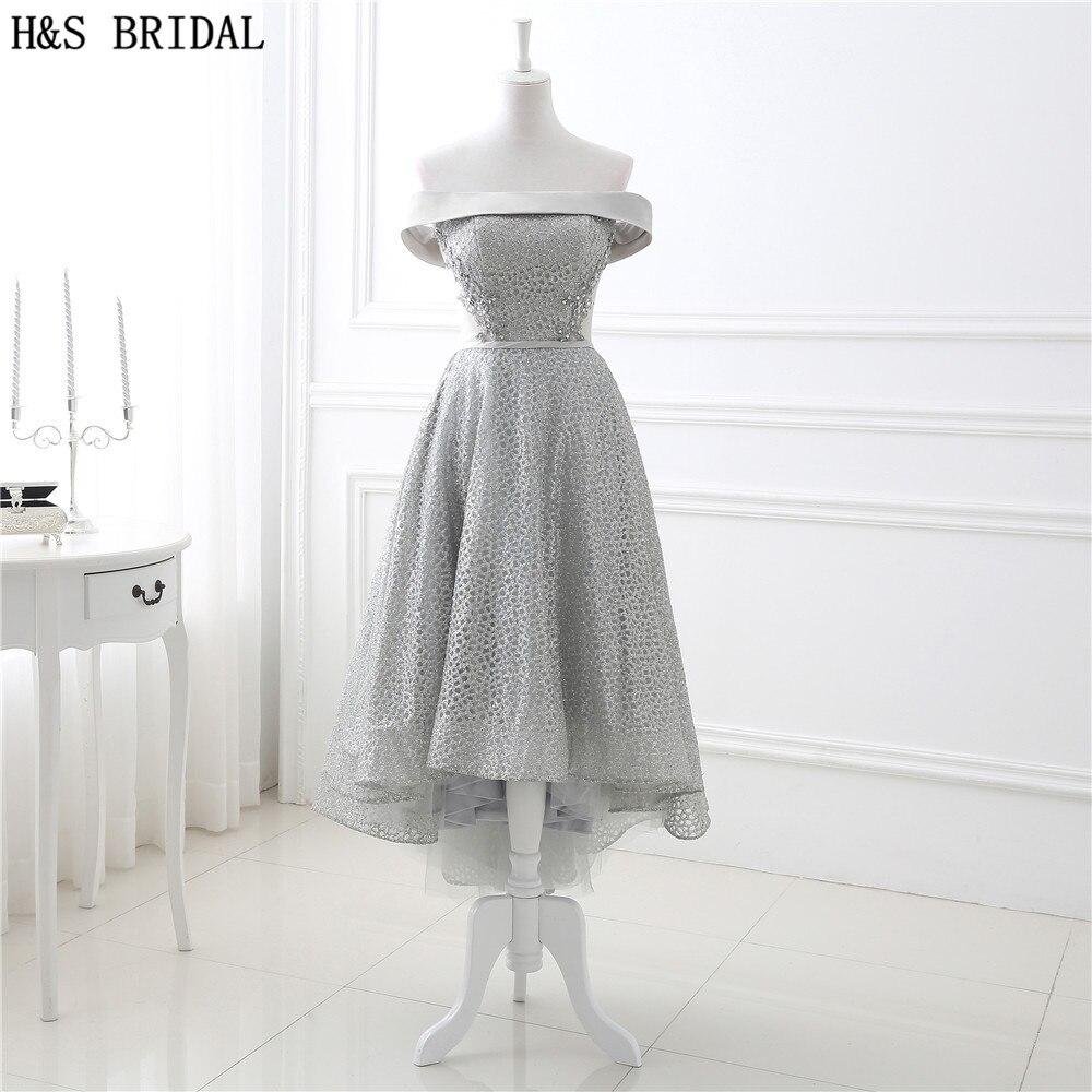 H S Bateau high low prom dresses Lace Applique Beaded cheap prom dresses Short front Long