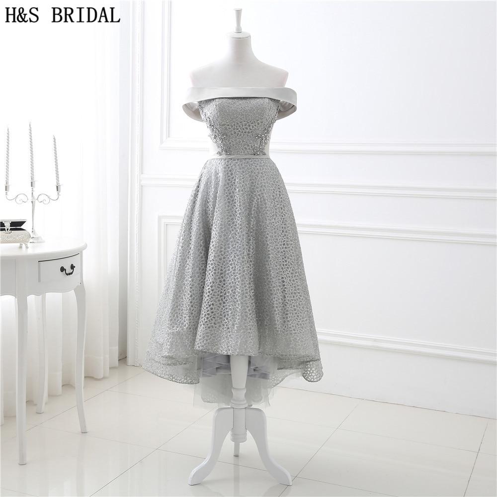 H&S Bateau high low   prom     dresses   Lace Applique Beaded cheap   prom     dresses   Short front Long Back Lace Up Tea-Length Evening Gown