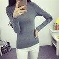 2015 de invierno de Corea delgado hilo de algodón de Cuello Redondo de manga larga espesada camisa, además de terciopelo caliente camisa femenina alumnas