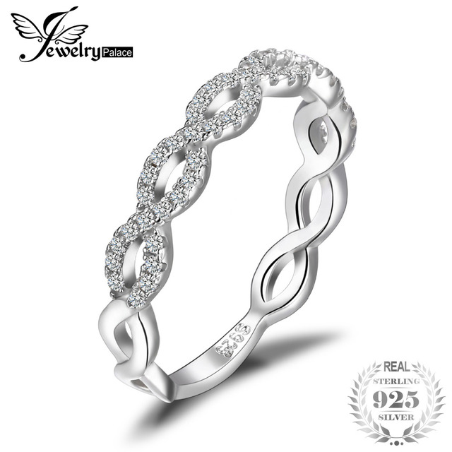 Jewelrypalace Infinity Love 925 Sterling Silver Cubic Zirconia Wedding Band Ring Fine Jewelry Engagement Gift For