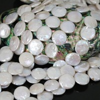 Charms white freshwater coin natural pearl fashion 14mm button loose beads diy Imported jewelry wholesale retail 15inch B1356
