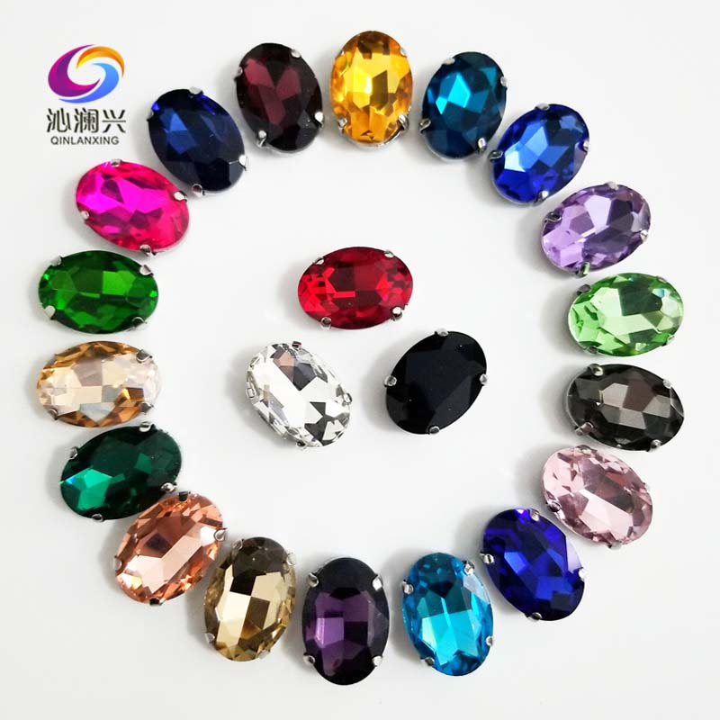 Mix color Oval shape High quality Glass Crystal sew on claw rhinestones with holes ,Diy/Clothing accessories