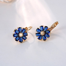 FYM Brand Fashion High Quality 5 Colors Flower Shape Cubic Zirconia Earrings Hoop Earrings For Women Party Jewelry fym high quality 5 colors vintage flower shape pendants statement drop earrings bohemian earrings for women party