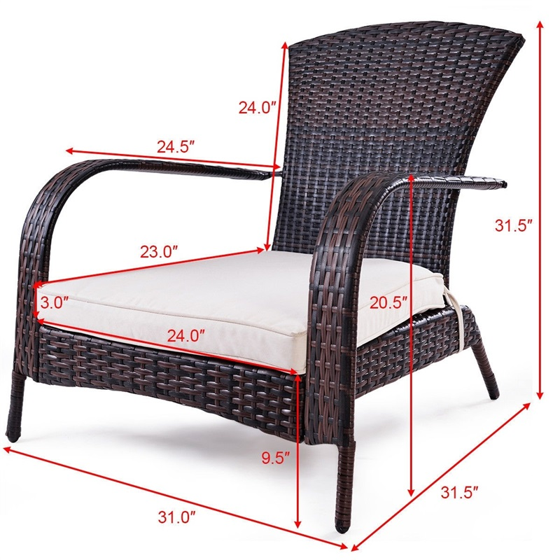 Wondrous Outdoor Wicker Rattan Porch Deck Adirondack Chair With Cushion Patio Furniture Hw57255 Gamerscity Chair Design For Home Gamerscityorg