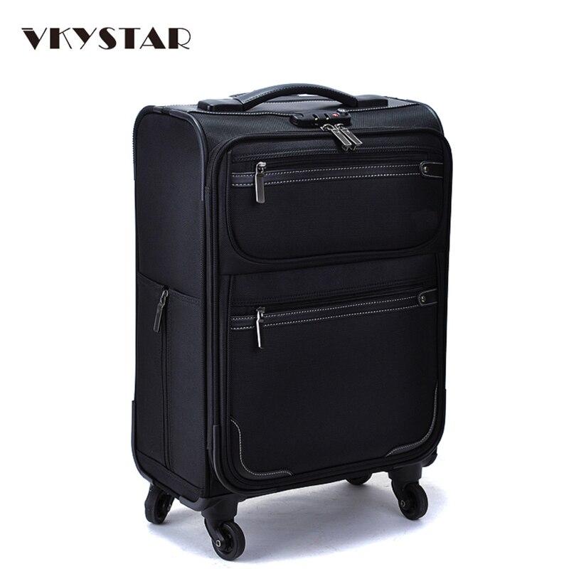 Oxford Trolley Bag Wheeled Luggage Vintage Large Rolling Travel Bag 22 Inch Suitcase Sack Spinner Men/Women Luggage Vkystar 007