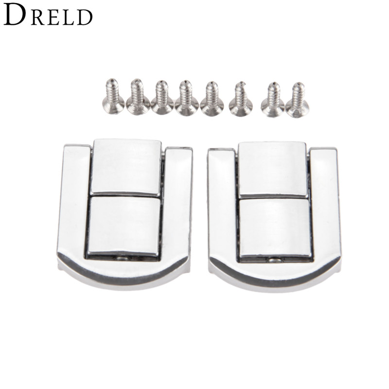 DRELD 2pcs 20*25mm Antique Box Hasps Alloy Lock Catch Latches For Jewelry Chest Box Suitcase Buckle Clip Clasp Vintage Hardware