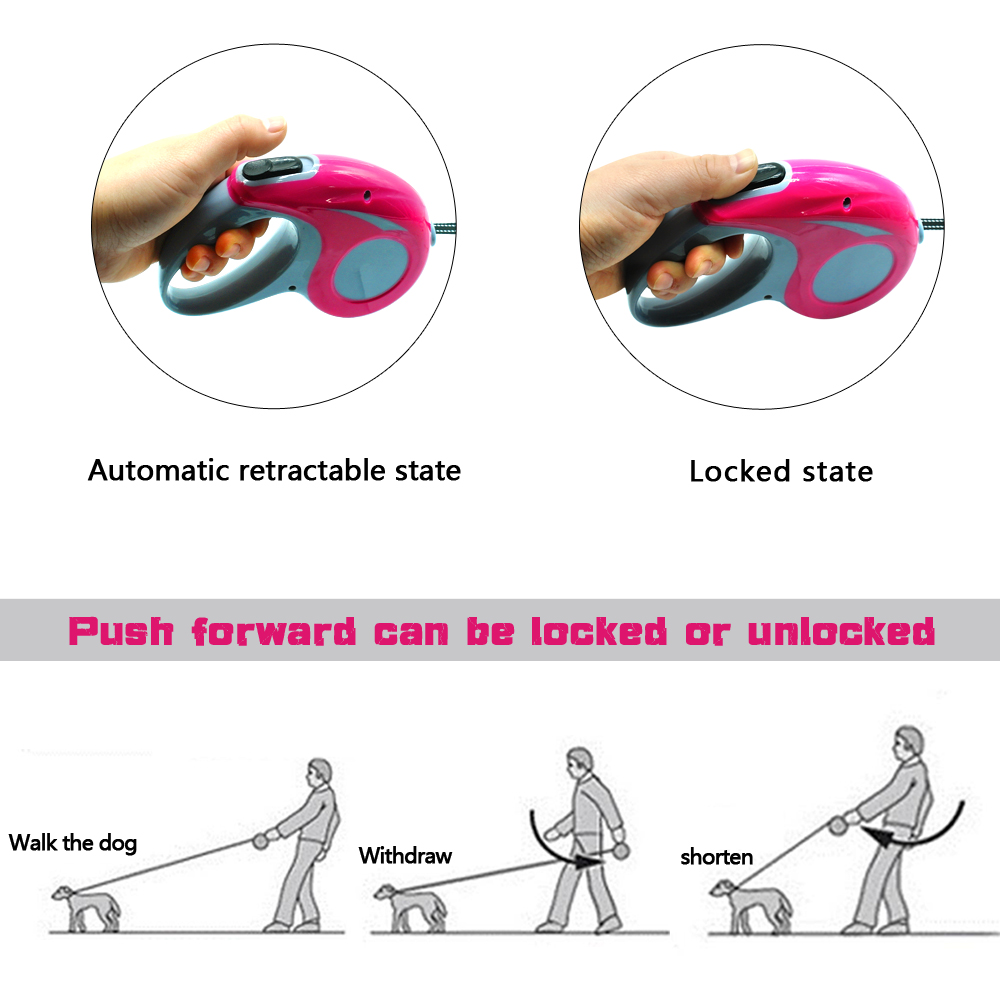 Automatisk tilbagetrækkelig hundebånd reflekterende hunde fører - Pet produkter - Foto 4
