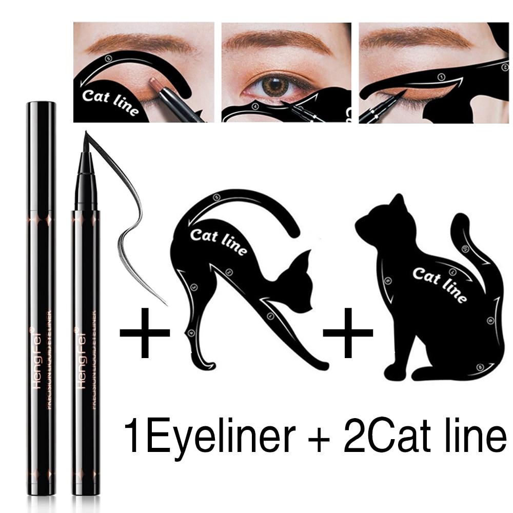 1 Eyeliner Liquide Noir Et 2 Pochoir De Liner Chat Pour Tireur Rapide Et Facile à Dessiner Jeu De Maquillage Eyeliner Flèches Pour Outil De Maquillage
