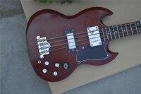 Новая Elm гитара из вяза тела Suneye 4 струны на заказ SG электрическая бас гитара винно красного цвета Бесплатная доставка