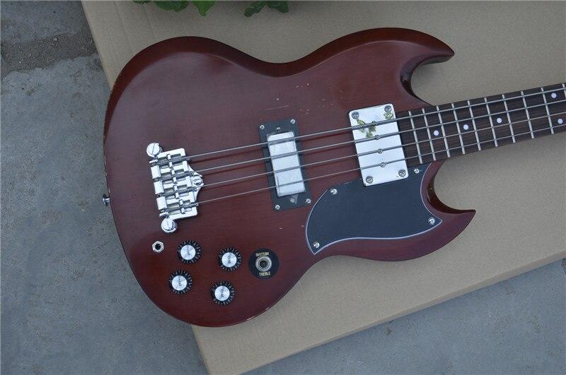 Nouveau orme orme guitare corps Suneye 4 cordes personnalisé SG guitare basse électrique vin rouge livraison gratuite