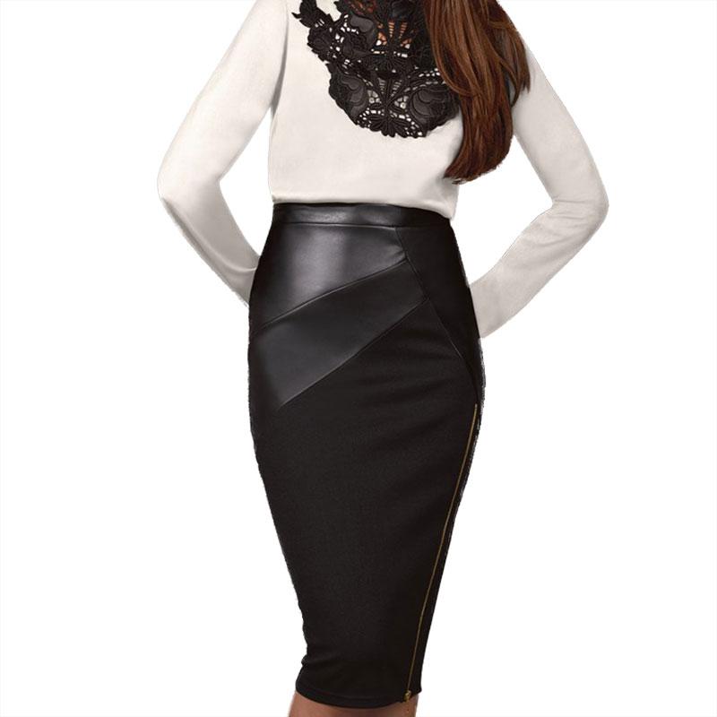 Rok Kulit Patchwork Midi Skirt Eliacher Jenama Plus Ukuran Pakaian Wanita Rok Pensil Wanita Seksi Chic