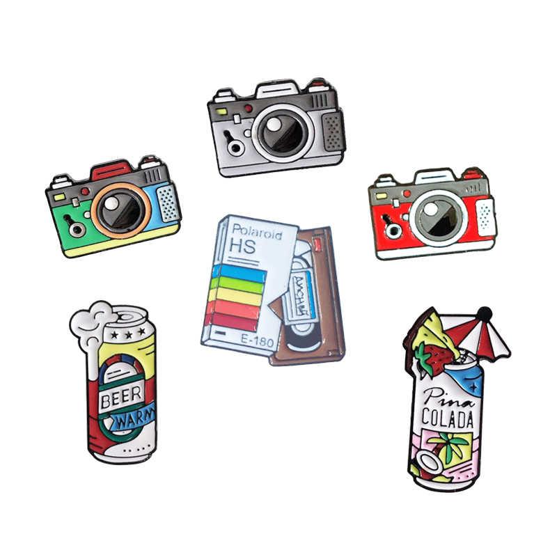 Мультфильм контакты Броши с изображением камеры для Для женщин 3 цвета Радуга цифровой Камера эмаль контактный пива запись пальто Кепки фотографии детский значок