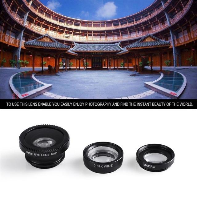 Universal 3 in 1 Wide Angle Macro Fisheye Lens Camera Mobile Phone Lenses Fish Eye Lentes Microscope For iPhone 8 7 6s 5s 4s s3