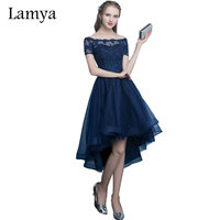 Lamya Sexy High Low Elegant Evening Party Dresses Princess Vestido De Festa Lace Plus Size Short