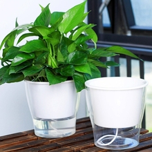 Auto Irrigate Flower Pot Vase Automatic Watering Planter Lazy Planting Round