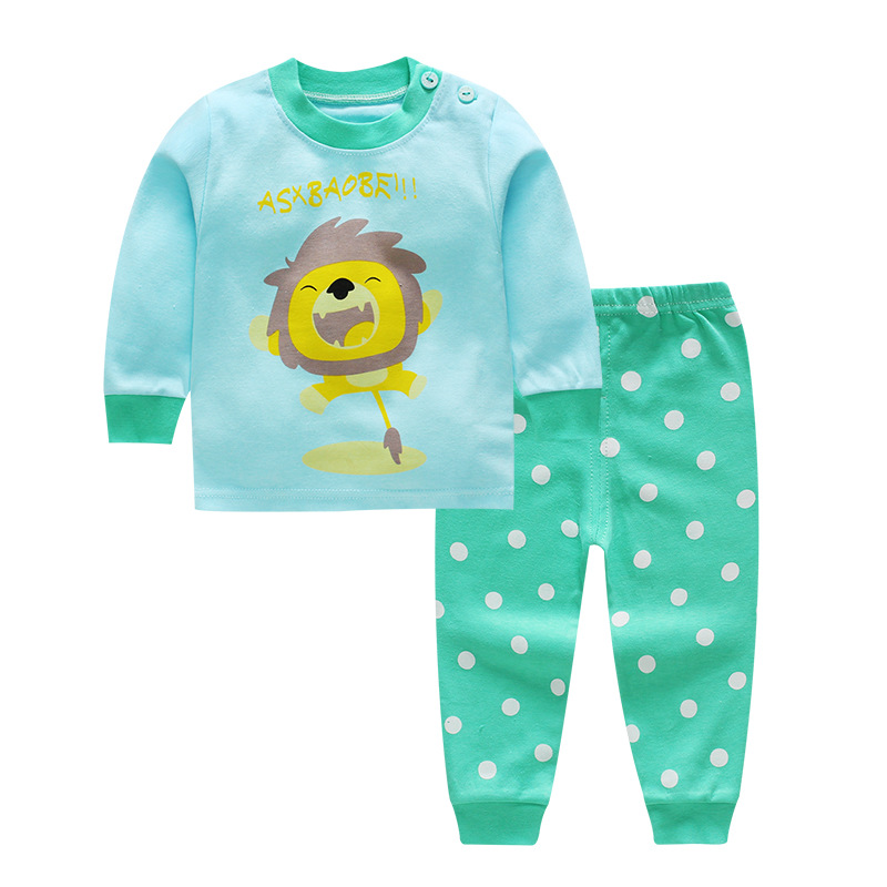 2 Colors Baby Clothing Sets Spring Autumn Baby Boys Girls Clothes Long Sleeve T-shirt + Pants 2Pcs Suits Lion Children Clothing christmas kid baby boys girls clothing set deer pyjamas nightwear sleepwear long sleeve t shirt pant 2pcs xmas clothing