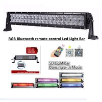 5D RGB Straight LED Light Bar Bluetooth Connectivity Strobe Flash Multicolor For Car SUV ATV Truck Off road with wiring Harness