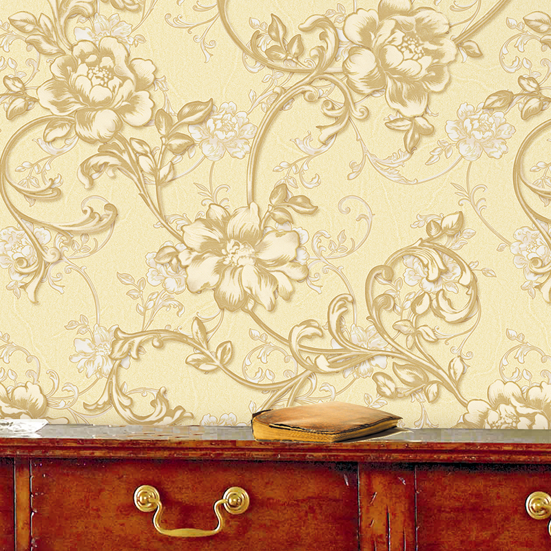 beibehang wallpaper European style pastoral high-grade thick nonwoven flowers large retro living room wallpaper background wall beibehang stereo 3d nonwoven fabric wallpaper warm bedroom living room full of european style pastoral flowers wallpaper behang