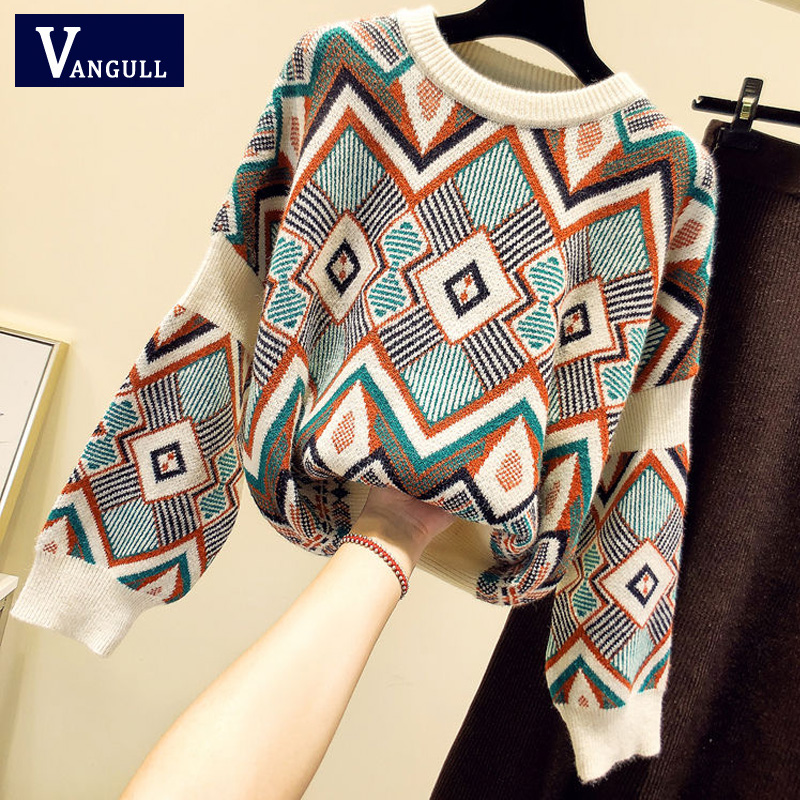 VANGULL High Quality Sweater Spring Autumn Loose Knitted Sweater Geometric Embroidery Pullover Women O-Neck Sweater Female Tops