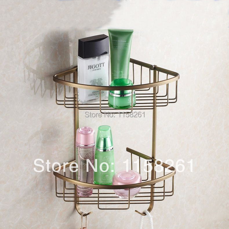 Bathroom Shelves 2 Tier Antique Brass Shower Corner Basket Rack Towel Hook Hanger Soap Shampoo Storage Wall Shelf Holder HJ-118 asus asus zenbook ux303ub 13 3 4гб ssd wi fi bluetooth intel core i5