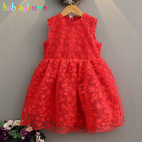 Babzapleume Summer Korean Kids Dresses Baby Girls Clothes Lace Flowers Sleeveless Princess Party Wedding Children Dress
