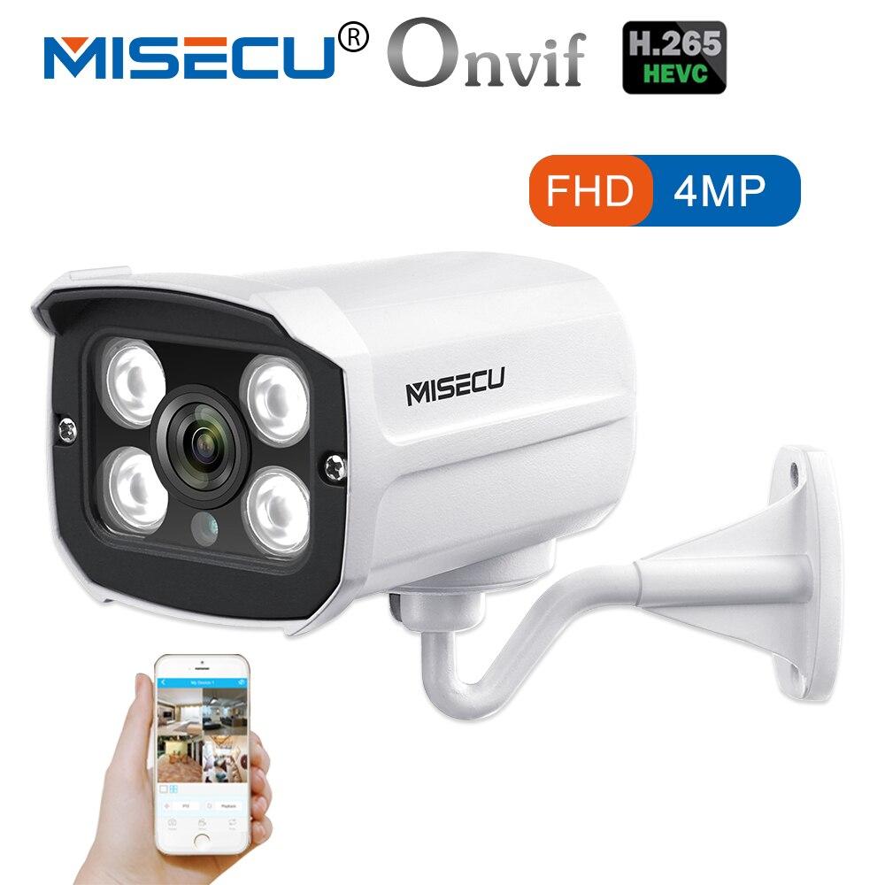 MISECU H.265 Surveillance POE IP Caméra 4MP/3MP/2MP Étanche Extérieur CCTV Caméra Avec 6 pcs RANGÉE IR LED ONVIF Email Alerte P2P