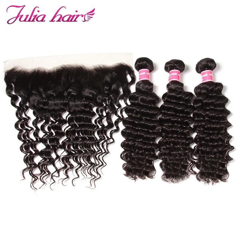 Ali Julia Hair 100 Human Hair 3 Bundles With Frontal Closure Brazilian Deep Wave 13 4