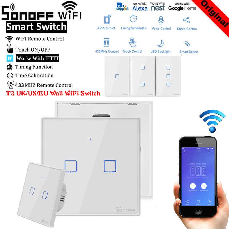 SONOFF T2 US/UK/ue TX 433 RF/głos/szafa sterownicza z metalu granicy inteligentny Wifi dotykowy ścienny przełącznik światła podstawowe z Alexa Google domu