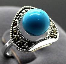 13X15MM Vintage 6mm Blue Turquoises Marcasite 925 Sterling Silver Ring size 7 8 9(China)