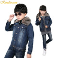 Kindstraum Children Winter Fur Denim Jacket New Fashion Brand Kids Cotton Thick Denim Coat Warm Outwear for Boys & Girls,MC261