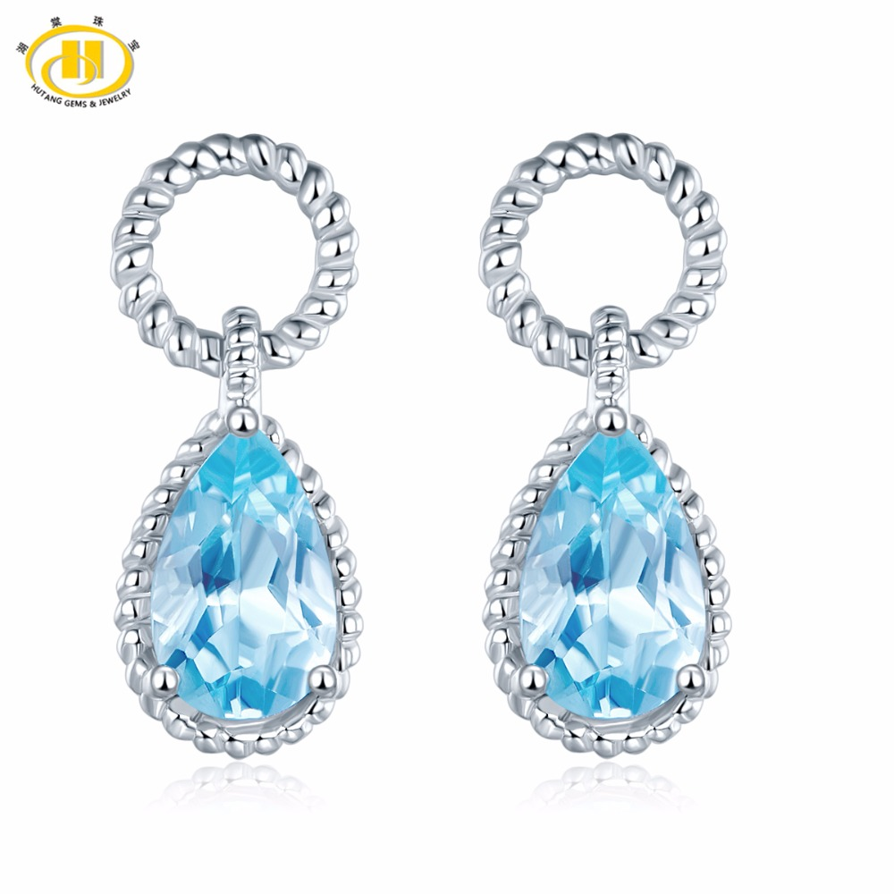 Hutang Natural Sky Blue Topaz Drop Earrings Solid 925 Sterling Silver Gemstone Fine Jewelry For Women's Accessories w gift