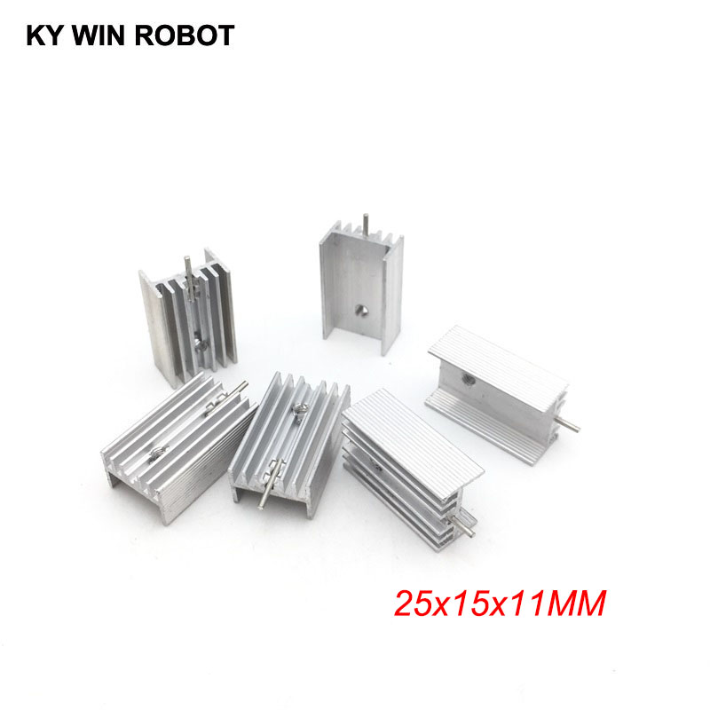 5pcs Free Shipping Aluminium TO-220 Heatsink TO 220 Heat Sink Transistor Radiator TO220 Cooler Cooling 25*15*11MM With 1 Pin