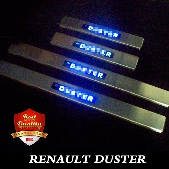 Prix pour RENAULT DUSTER LED inoxydable Stee Porte Sills Plat D'usure fit pour Dacia Duster 2010-2015 double seuils de portes ton Bleu LED lumière
